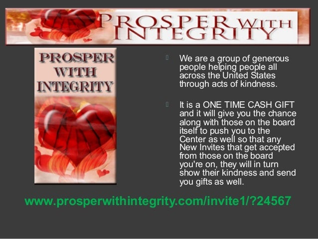 Prosper with integrity