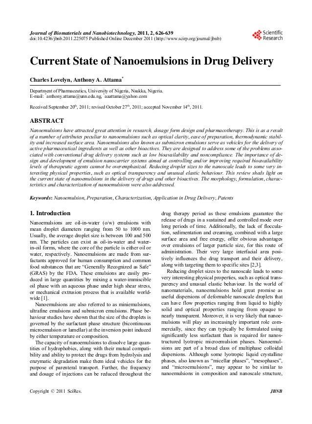Journal of Biomaterials and Nanobiotechnology, 2011, 2, 626-639 doi:10.4236/jbnb.2011.225075 Published Online December 201...