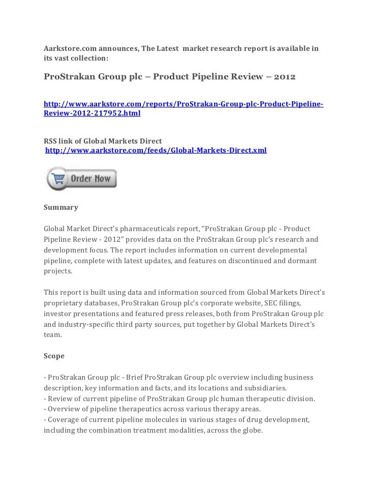 Pro strakan group plc – product pipeline review – 2012