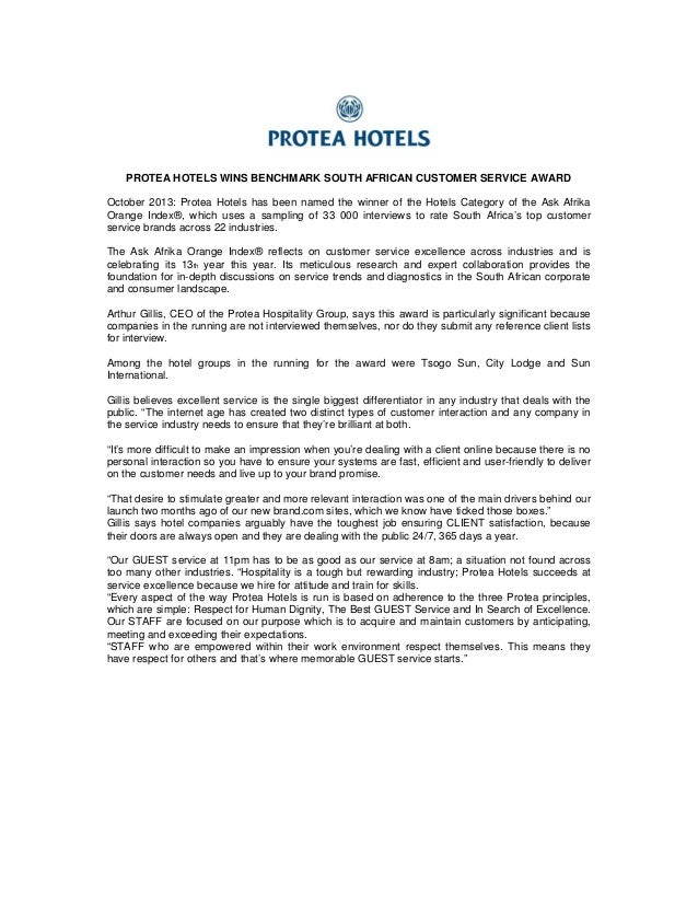 PROTEA HOTELS WINS BENCHMARK SOUTH AFRICAN CUSTOMER SERVICE AWARD October 2013: Protea Hotels has been named the winner of...