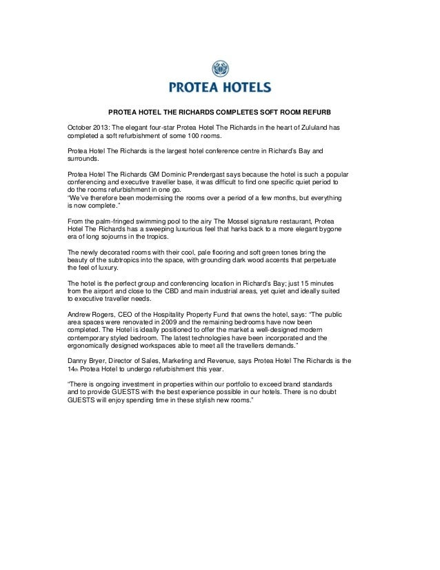 PROTEA HOTEL THE RICHARDS COMPLETES SOFT ROOM REFURB October 2013: The elegant four-star Protea Hotel The Richards in the ...