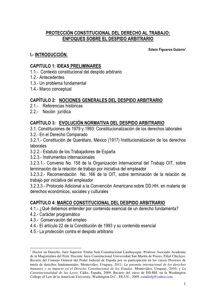 PROTECCIÓN CONSTITUCIONAL DEL DERECHO AL TRABAJO:                ENFOQUES SOBRE EL DESPIDO ARBITRARIO                     ...