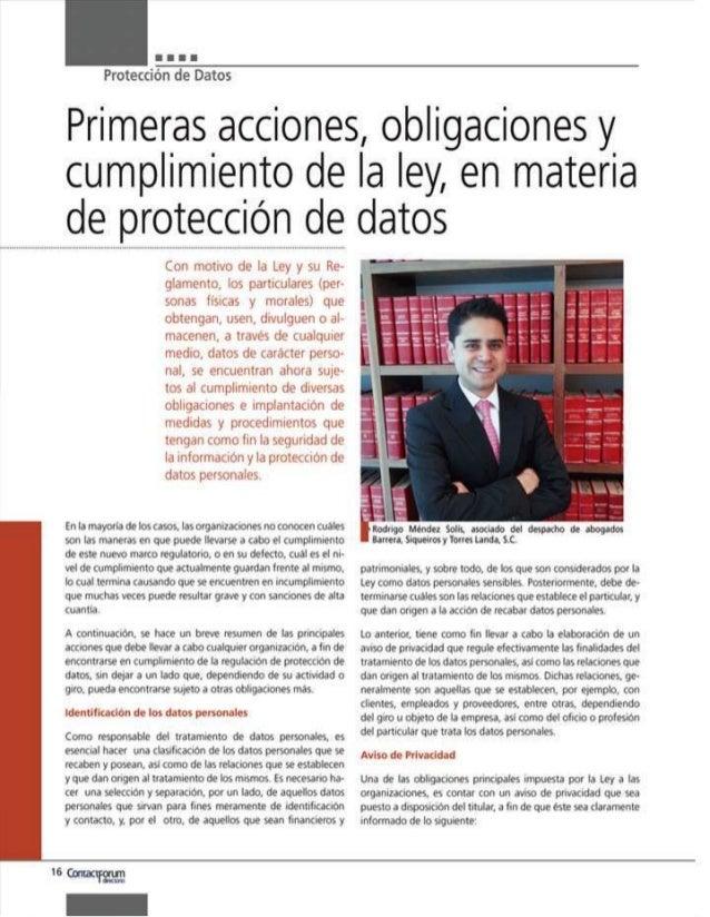 Primeras acciones, obligaciones y cumplimiento de la ley, en materia de protección de datos