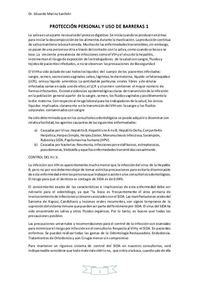Dr. Eduardo MarinoSanllehi 1 PROTECCIÓN PERSONAL Y USO DE BARRERAS 1 La salivaesunaparte necesariadel procesodigestivo.Se ...
