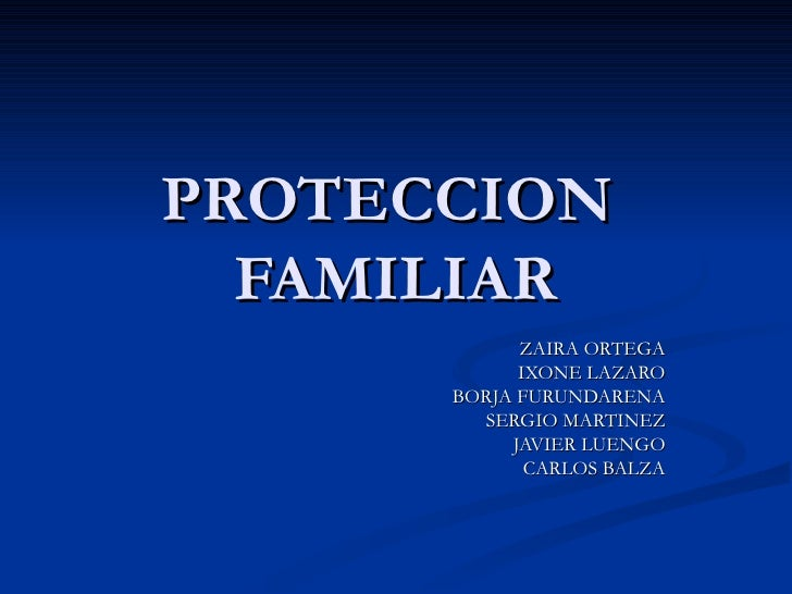 PROTECCION  FAMILIAR ZAIRA ORTEGA IXONE LAZARO BORJA FURUNDARENA SERGIO MARTINEZ JAVIER LUENGO CARLOS BALZA