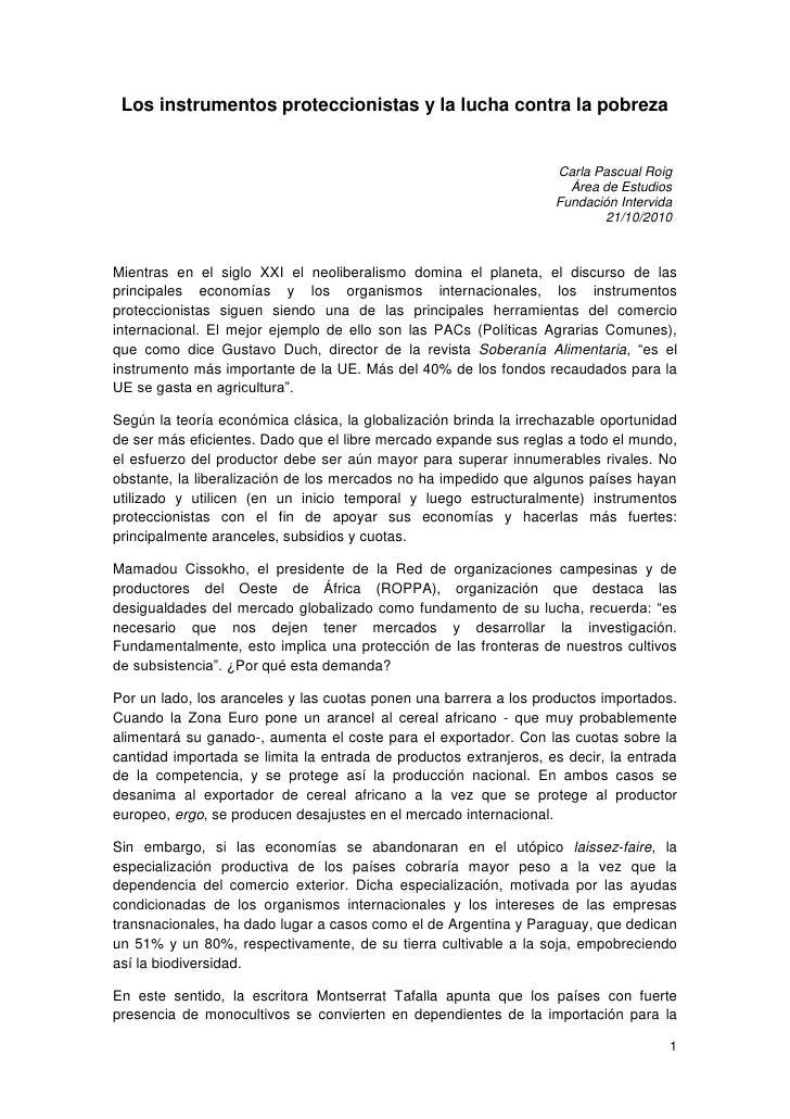 Los instrumentos proteccionistas y la lucha contra la pobreza                                                             ...