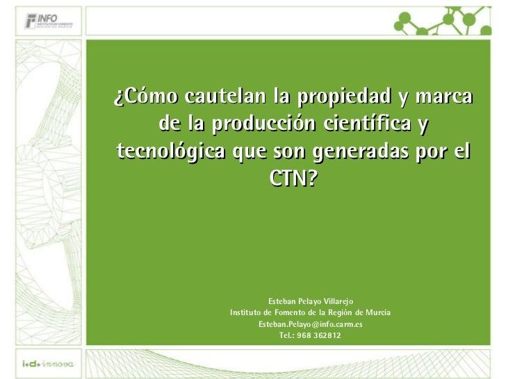 ¿Cómo cautelan la propiedad y marca de la producción científica y tecnológica que son generadas por el CTN? Esteban Pelayo...