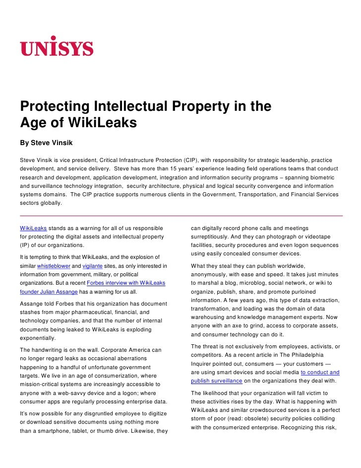 06350<br />Protecting Intellectual Property in the <br />Age of WikiLeaks<br />By Steve Vinsik<br />Steve Vinsik is vice p...