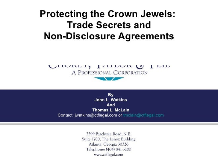 Protecting The Crown Jewels: Trade Secrets and Non-Disclosure Agreements Part I