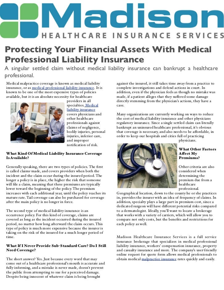 Protecting your financial assets with medical liability insurance