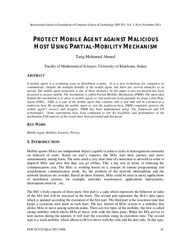 Protect mobile agent against malicious host using partial mobility mechanism