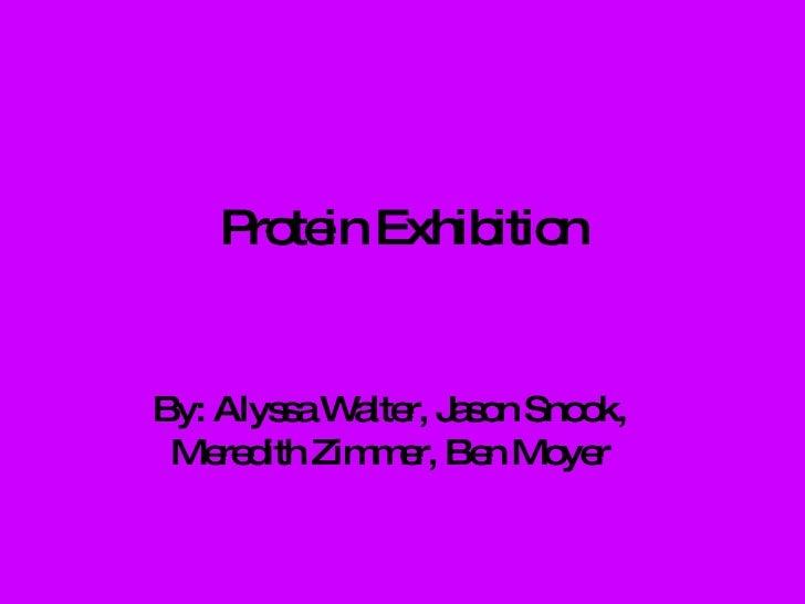 Protein Exhibition By: Alyssa Walter, Jason Snook, Meredith Zimmer, Ben Moyer