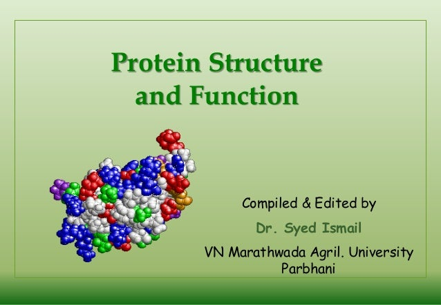 Protein Structure and Function  Compiled & Edited by Dr. Syed Ismail VN Marathwada Agril. University Parbhani
