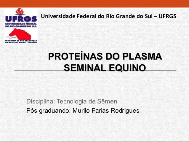 Universidade Federal do Rio Grande do Sul – UFRGS       PROTEÍNAS DO PLASMA         SEMINAL EQUINODisciplina: Tecnologia d...