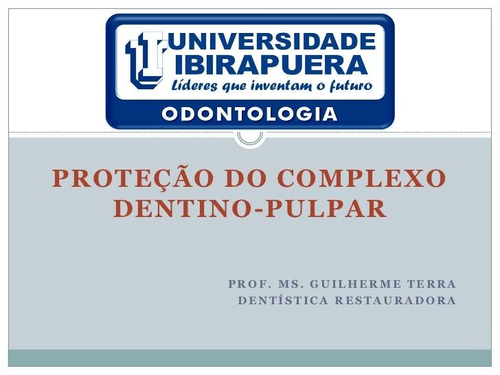 PROTEÇÃO DO COMPLEXO   DENTINO-PULPAR        PROF. MS. GUILHERME TERRA         DENTÍSTICA RESTAURADORA