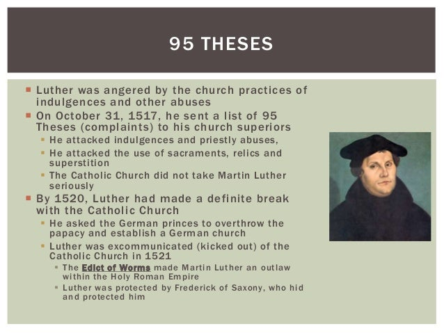 what were the consequences of martin luthers 95 theses How martin luther's ideas lasted original wooden ones from luther's time, which were destroyed by a church now bear martin luther's 95 theses.