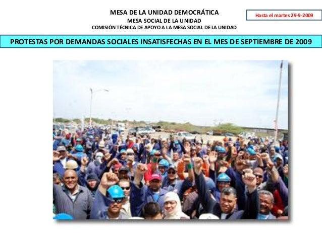 MESA DE LA UNIDAD DEMOCRÁTICA MESA SOCIAL DE LA UNIDAD COMISIÓN TÉCNICA DE APOYO A LA MESA SOCIAL DE LA UNIDAD PROTESTAS P...