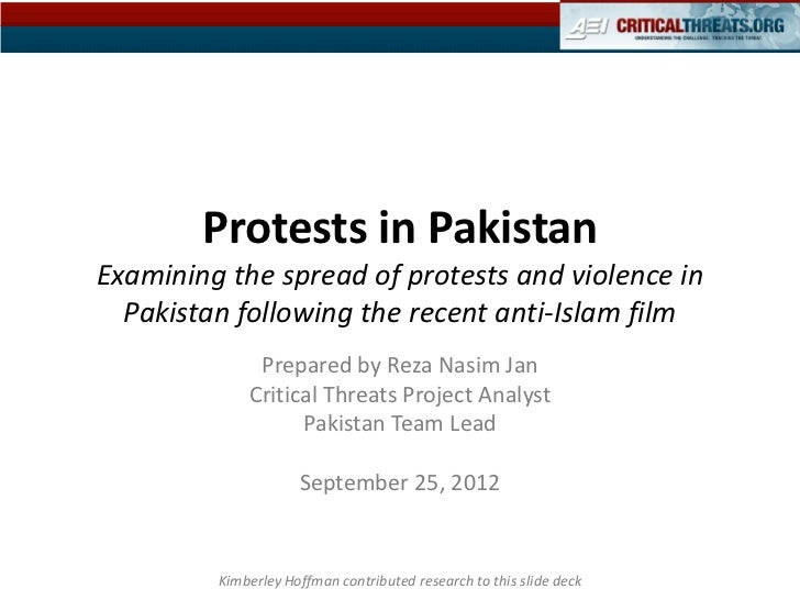 Violence in Pakistan: Mapping the Protests Following the Anti-Islam Film