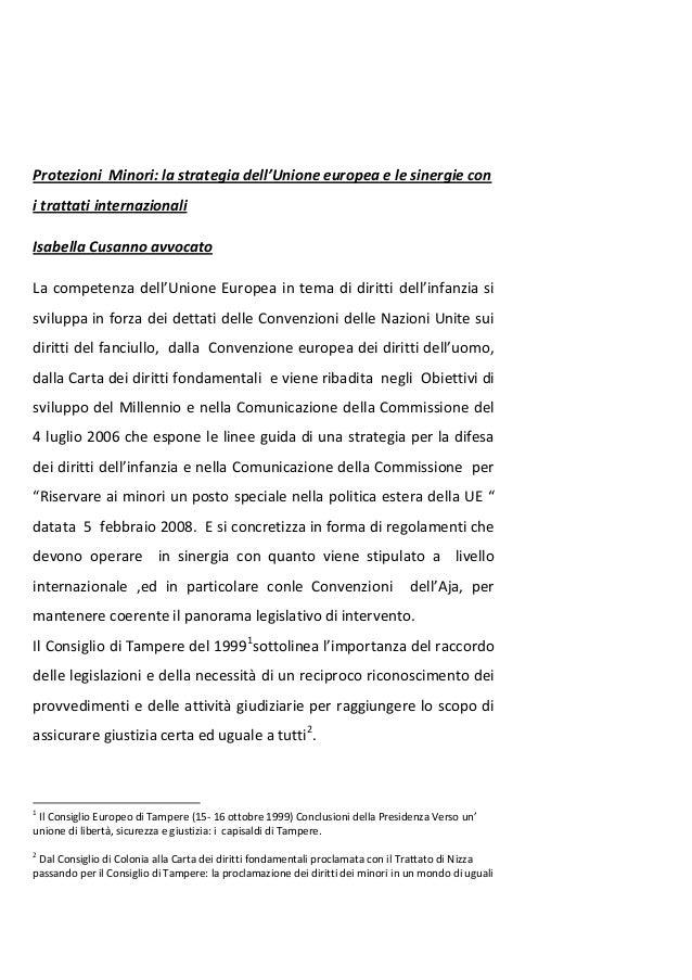 Protezioni  minori :strategie dell'Unione Europea e sinergie internazionali