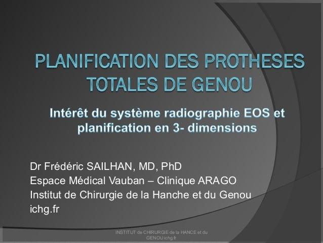Dr Frédéric SAILHAN, MD, PhD Espace Médical Vauban – Clinique ARAGO Institut de Chirurgie de la Hanche et du Genou ichg.fr...