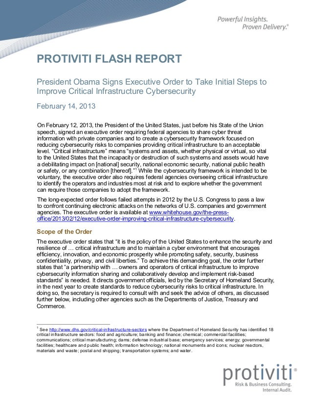PROTIVITI FLASH REPORTPresident Obama Signs Executive Order to Take Initial Steps toImprove Critical Infrastructure Cybers...