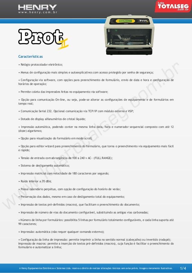 Protocolador de Documentos Henry Prot II - LojaTotalseg.com.br