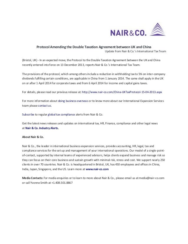 Protocol Amending the Double Taxation Agreement between UK and China Update from Nair & Co.'s International Tax Team (Bris...