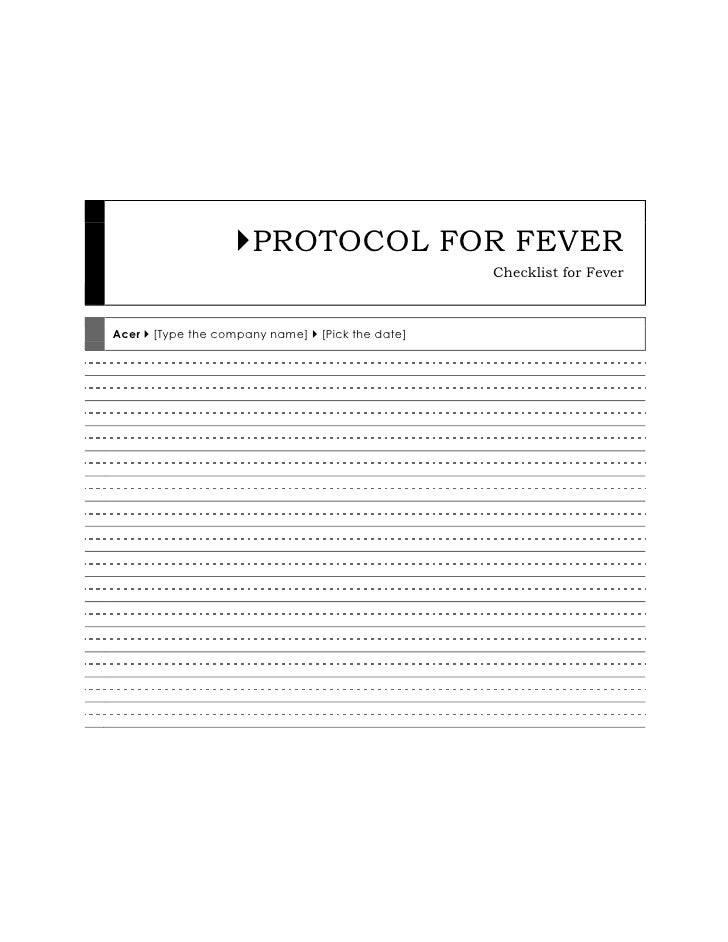 PROTOCOL FOR FEVERChecklist for FeverAcer  [Type the company name]  [Pick the date]<br />PROTOCOL FOR FEVER<br />Checklis...
