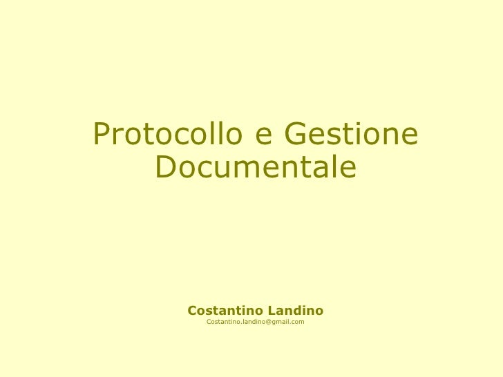 Protocollo e gestione documentale
