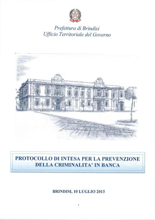 Protocollo abi - Prefettura di Brindisi su sicurezza istituti bancari