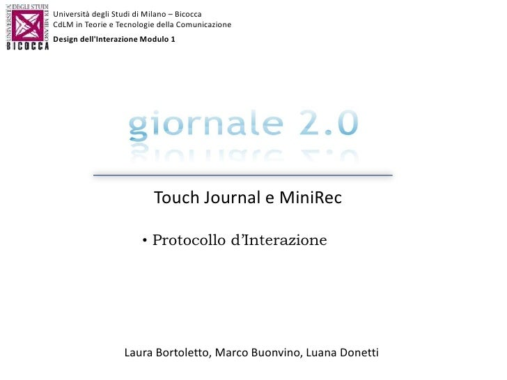Protocollo di interazione Touch Journal e MiniRec
