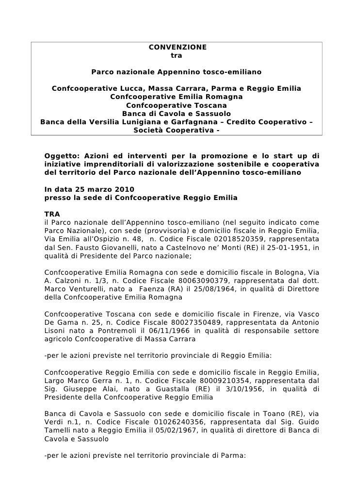 CONVENZIONE                                    tra                Parco nazionale Appennino tosco-emiliano    Confcooperat...
