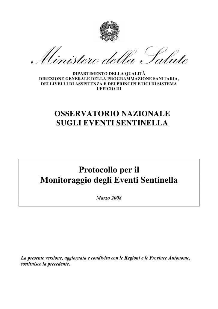 Ministero della Salute                       DIPARTIMENTO DELLA QUALITÀ         DIREZIONE GENERALE DELLA PROGRAMMAZIONE SA...