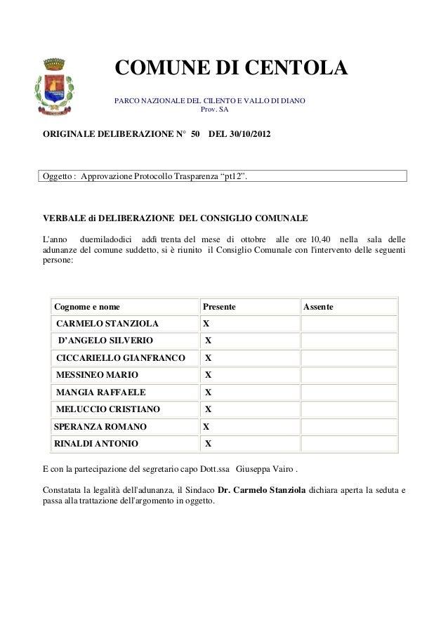 COMUNE DI CENTOLA                   PARCO NAZIONALE DEL CILENTO E VALLO DI DIANO                                      Prov...