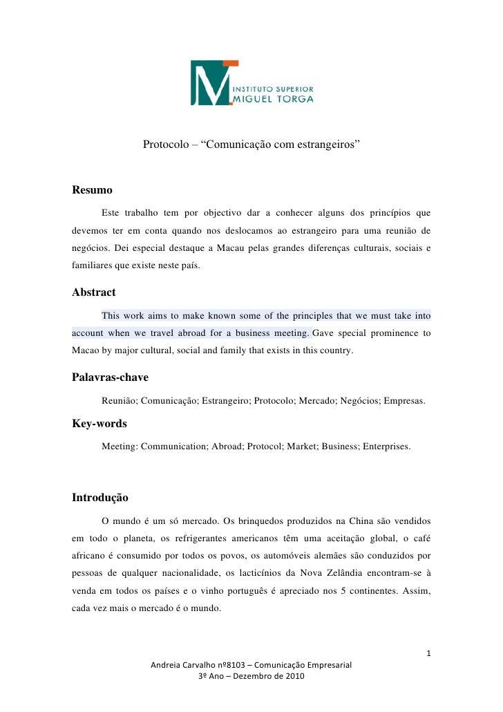 """Protocolo – """"Comunicação com estrangeiros""""Resumo       Este trabalho tem por objectivo dar a conhecer alguns dos princípio..."""