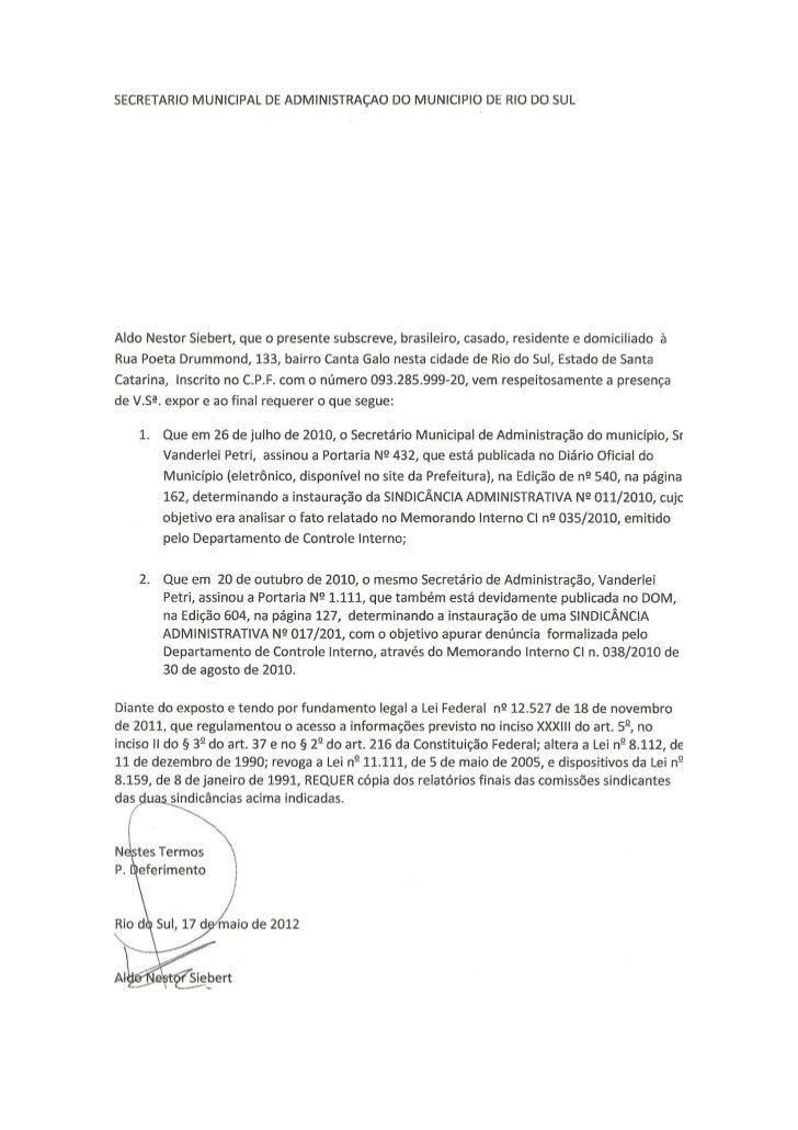 Requerimento solicitando cópia de sindicância