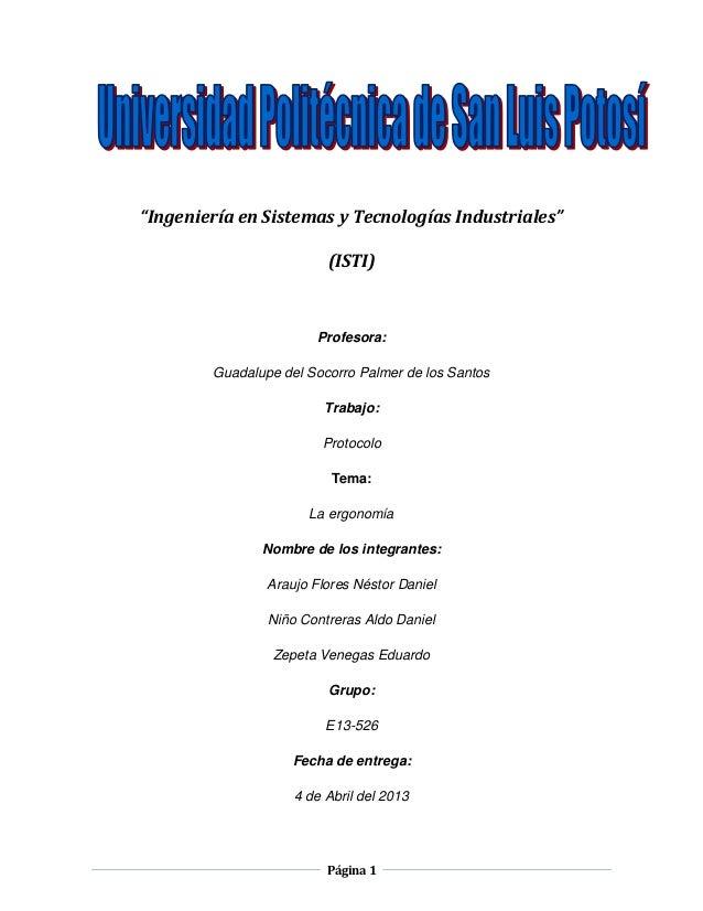 """""""Ingeniería en Sistemas y Tecnologías Industriales""""                         (ISTI)                        Profesora:      ..."""