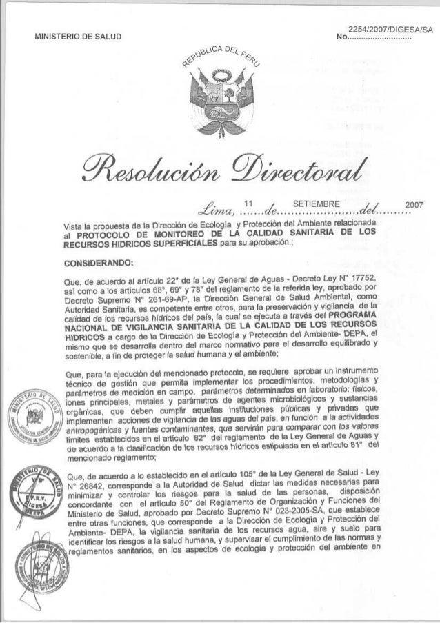 """Página 1 de 14 MINISTERIO DE SALUD Dirección General de Salud Ambiental """"DIGESA"""" PROTOCOLO DE MONITOREO DE LA CALIDAD SANI..."""