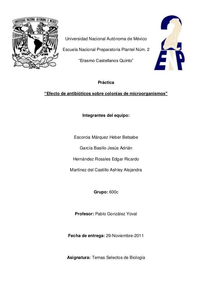 "Universidad Nacional Autónoma de México        Escuela Nacional Preparatoria Plantel Núm. 2                ""Erasmo Castell..."