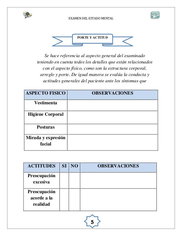 Protocolo examen mental for Porte y actitud