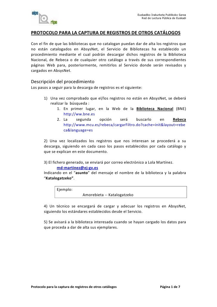 Protocolo  Captura 2011