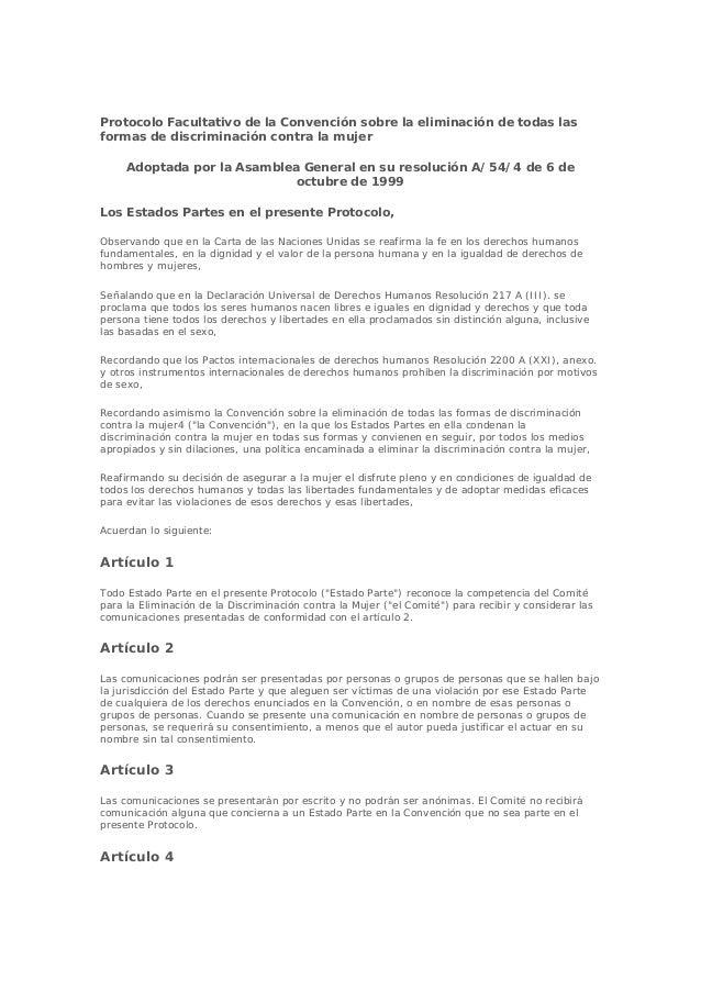 Protocolo Facultativo de la Convención sobre la eliminación de todas las formas de discriminación contra la mujer Adoptada...