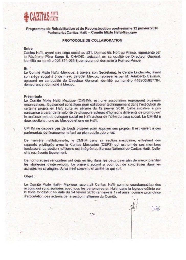 t CARITAS ~~~:     Programme de Réhabilitation et de Reconstruction post-séisme 12 janvier 2010               Partenariat ...