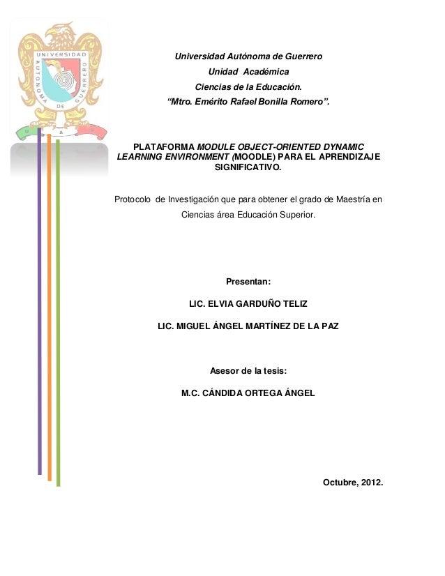 """Universidad Autónoma de Guerrero Unidad Académica Ciencias de la Educación. """"Mtro. Emérito Rafael Bonilla Romero"""". PLATAFO..."""