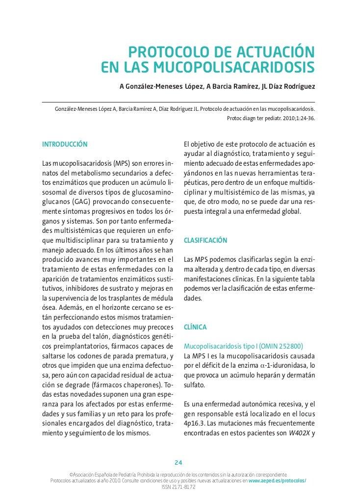 PROTOCOLO DE ACTUACIÓN                           EN LAS MUCOPOLISACARIDOSIS                                    A González-...