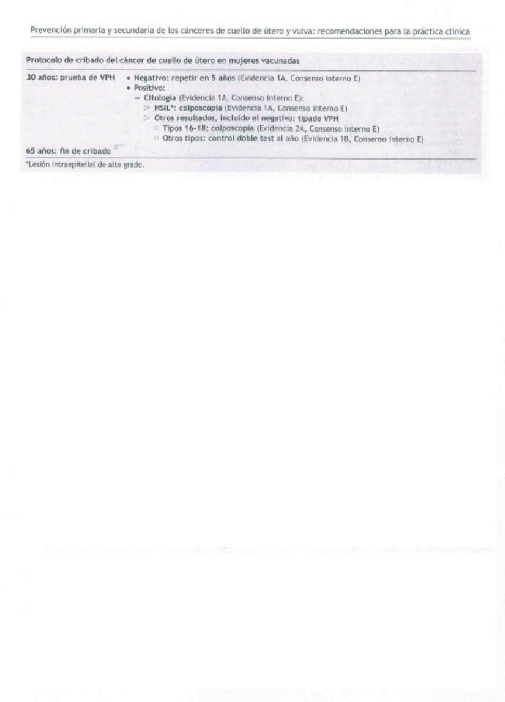 Protocolo de cribado del cáncer de cuello de útero en mujeres vacunadas