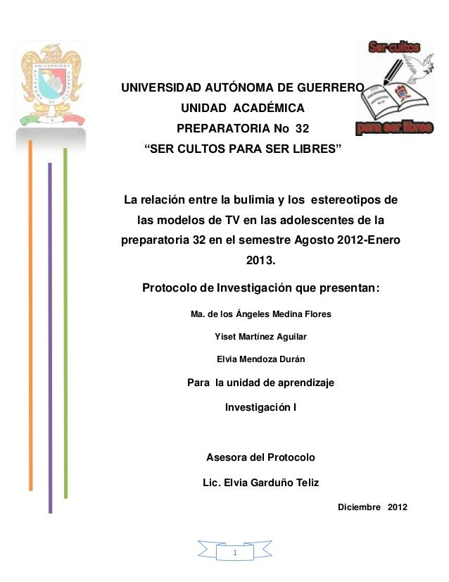 La relación entre la bulimia y los  estereotipos de las modelos de TV en las adolescentes de la preparatoria 32 en el semestre Agosto 2012-Enero 2013.