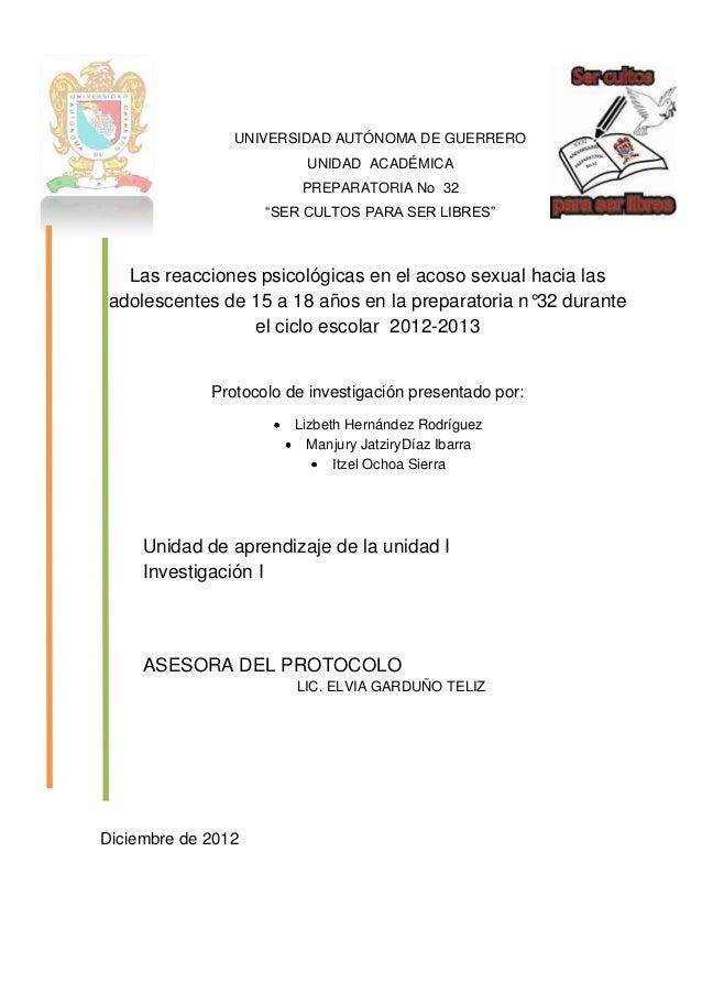 Protocolo de investigacion sobre las reacciones psicologicas en el acoso sexual