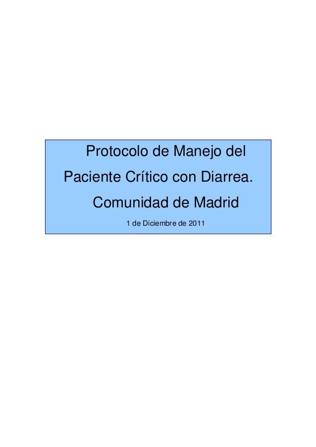 Protocolo de manejo del paciente critico con diarrea for Rea comunidad de madrid