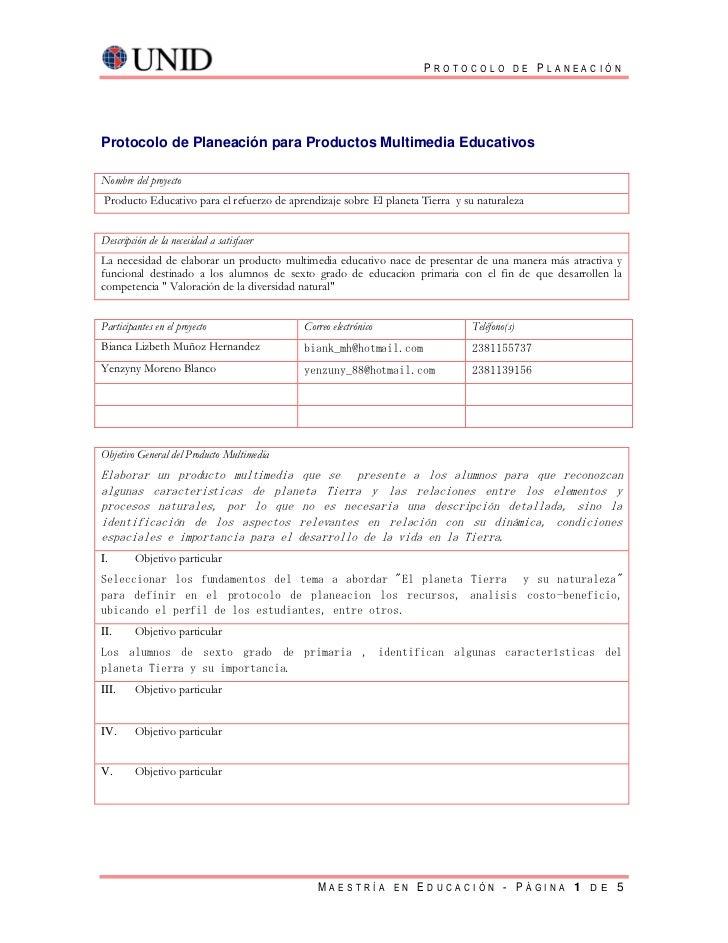 PROTOCOLO DE PLANEACIÓNProtocolo de Planeación para Productos Multimedia EducativosNombre del proyectoProducto Educativo p...